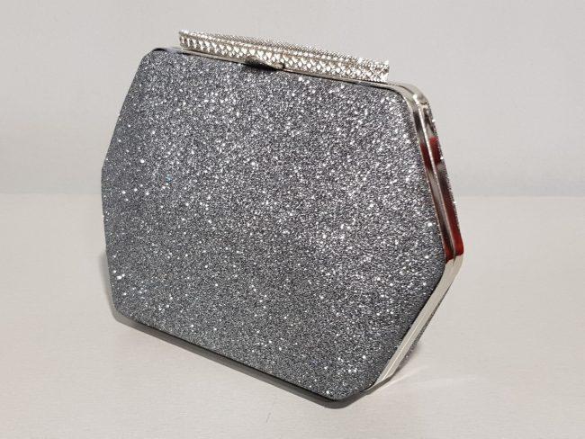 дамска официална чанта от графитен брокат
