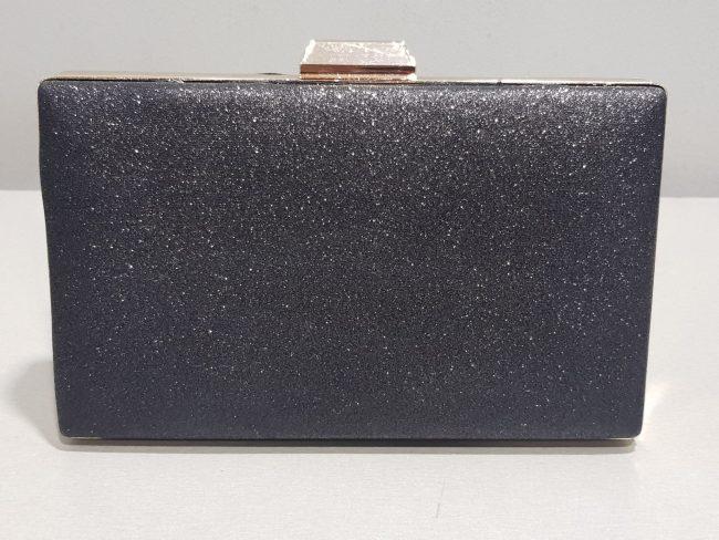 черна бална чанта със златен обков от брокат