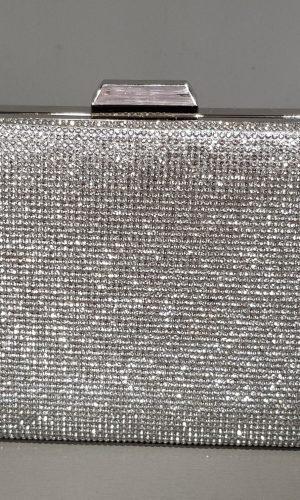 дамска абитуриентска сребърна чанта със сребърен обков