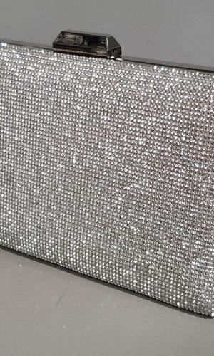 бална сребърна чанта с метален обков