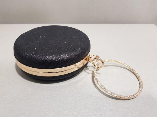 малка черна брокатена чанта за бал с гривна