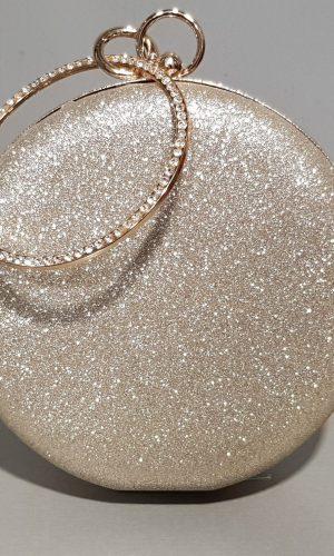 кръгла абитуриентска чанта в златно със златен метален обков