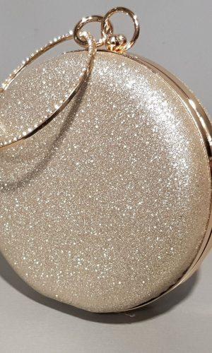 малка златна абитуриентска чанта с метална дръжка