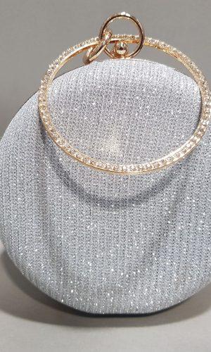 сребърна кръгла абитуриентска чанта с метална дръжка тип гривна
