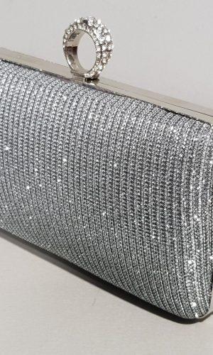 малка бална чанта в тъмно сребро