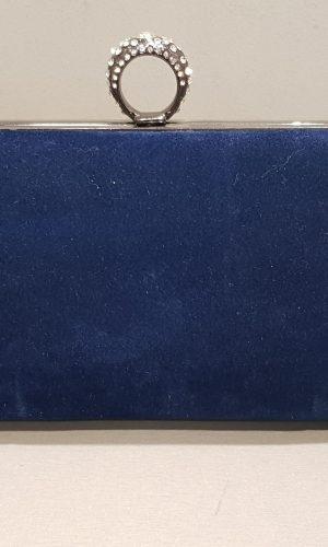 абитуриентска чанта от синьо кадифе с метален обков