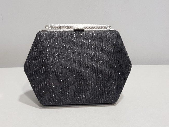 черна абитуриентска чанта с блестящ метален обков с дълга дръжка