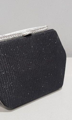 малка бална черна чанта тип бижу