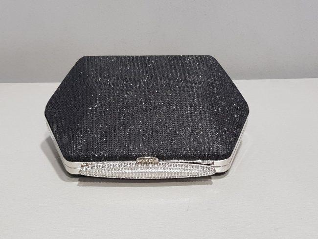 дамска черна абитуриентска чанта от блестяща мрежа