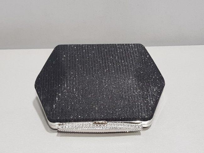 бутикова бална чанта от блестяща черна мрежа