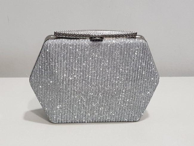графитена бална чанта с метален обков и дълга дръжка