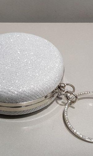 кръгла бална чанта с метална дръжка и обков