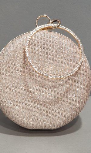 бална кръгла златна чанта с метален обков и обсипана с камъни