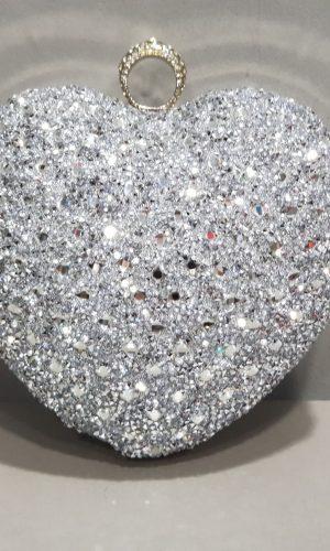 дамска абитуриентска чанта във формата на сърце в сребро