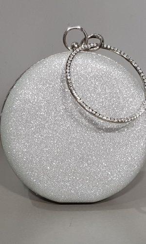 кръгла бална чанта от сребърен обков с гривна с камъни
