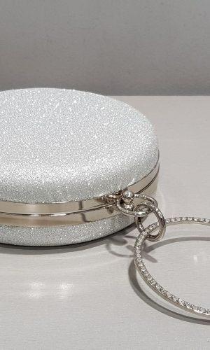 кръгла абитуриентска чанта в сребристо