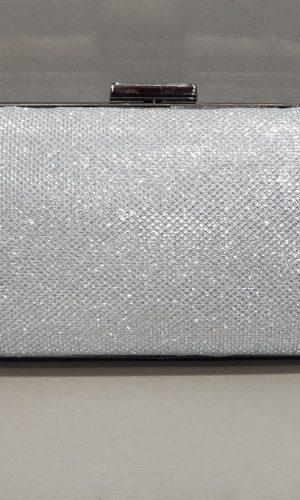 абитуриентска сребърна чанта от брокат с метален обков
